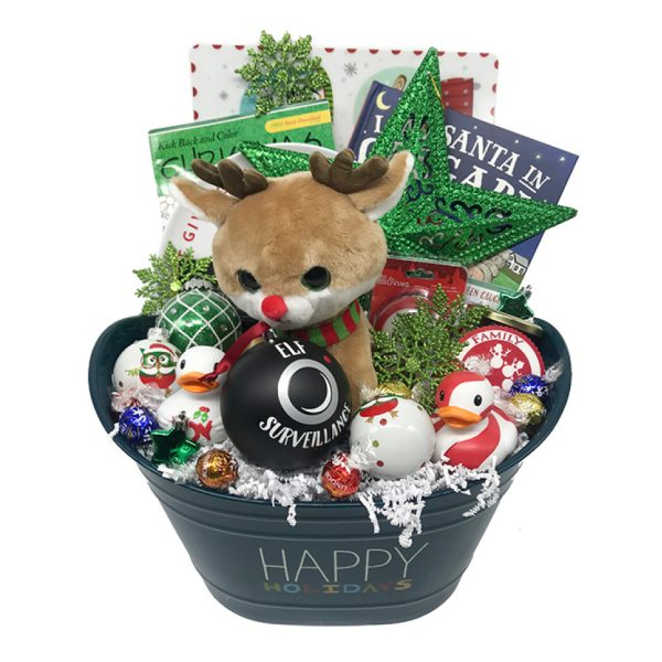 Happy Holidays Rudolph stuffie christmas basket time is money