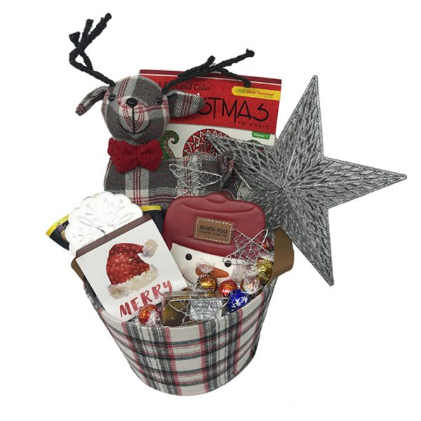 plaid country christmas basket time is money
