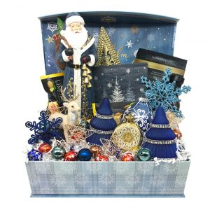 blue santa christmas basket time is money